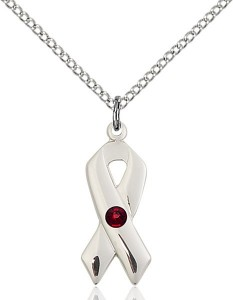 Awareness Ribbon Pendant with Birthstone Options [BLST5150]