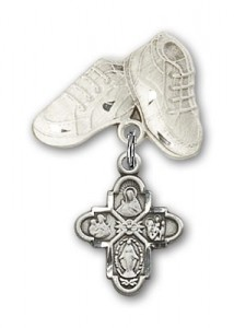 Baby Badge with 4-Way Charm and Baby Boots Pin [BLBP0132]