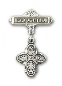 Baby Badge with 4-Way Charm and Godchild Badge Pin [BLBP0131]