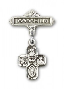 Baby Badge with 4-Way Charm and Godchild Badge Pin [BLBP0249]