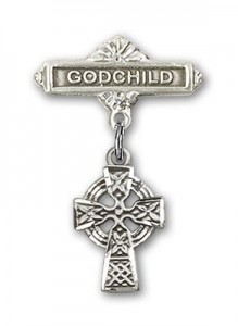 Baby Badge with Celtic Cross Charm and Godchild Badge Pin [BLBP0179]