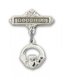Baby Badge with Claddagh Charm and Godchild Badge Pin [BLBP0144]