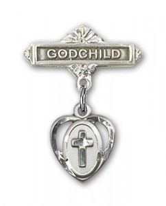 Baby Badge with Heart Shaped Cross Charm and Godchild Badge Pin [BLBP0228]