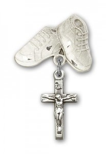 Baby Badge with Crucifix Charm and Baby Boots Pin [BLBP0236]