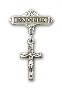 Baby Badge with Crucifix Charm and Godchild Badge Pin [BLBP0235]