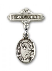 Baby Badge with Footprints Cross Charm and Godchild Badge Pin [BLBP1538]