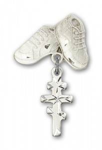 Baby Badge with Greek Orthadox Cross Charm and Baby Boots Pin [BLBP0243]