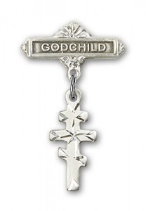 Baby Badge with Greek Orthodox Cross Charm and Godchild Badge Pin [BLBP0242]