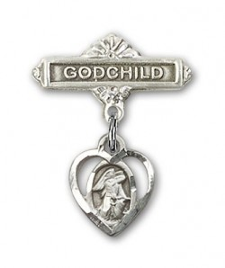 Baby Badge with Guardian Angel Charm and Godchild Badge Pin [BLBP0221]