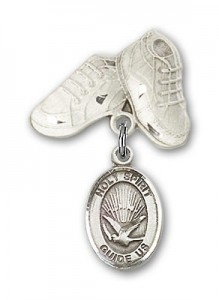 Baby Badge with Holy Spirit Charm and Baby Boots Pin [BLBP0573]