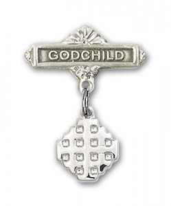 Baby Badge with Jerusalem Cross Charm and Godchild Badge Pin [BLBP0151]