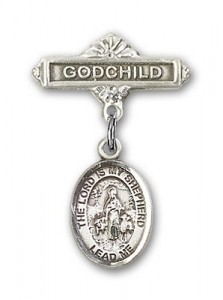 Baby Badge with Lord Is My Shepherd Charm and Godchild Badge Pin [BLBP1097]