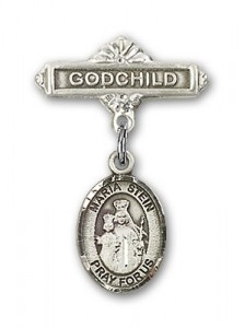 Baby Badge with Maria Stein Charm and Godchild Badge Pin [BLBP1181]