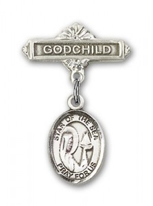 Baby Badge with Our Lady Star of the Sea Charm and Godchild Badge Pin [BLBP0971]
