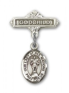 Baby Badge with Our Lady of All Nations Charm and Godchild Badge Pin [BLBP1573]