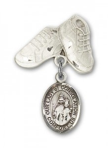 Baby Badge with Our Lady of Consolation Charm and Baby Boots Pin [BLBP1915]