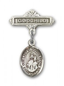 Baby Badge with Our Lady of Consolation Charm and Godchild Badge Pin [BLBP1914]