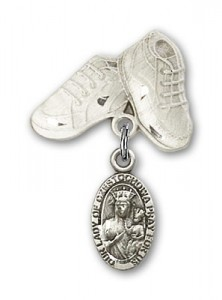 Baby Badge with Our Lady of Czestochowa Charm and Baby Boots Pin [BLBP0257]