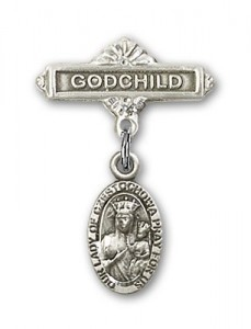 Baby Badge with Our Lady of Czestochowa Charm and Godchild Badge Pin [BLBP0256]