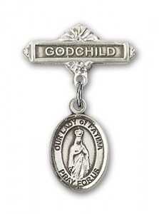Baby Badge with Our Lady of Fatima Charm and Godchild Badge Pin [BLBP1321]