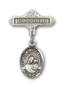 Baby Badge with Our Lady of Good Counsel Charm and Godchild Badge Pin [BLBP1880]