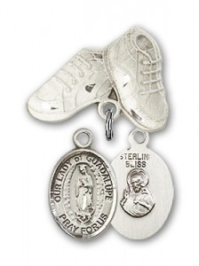 Baby Badge with Our Lady of Guadalupe Charm and Baby Boots Pin [BLBP1329]