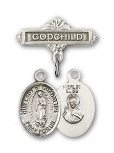 Baby Badge with Our Lady of Guadalupe Charm and Godchild Badge Pin [BLBP1328]