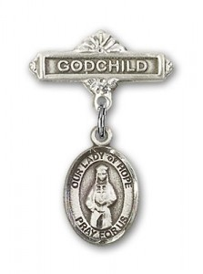 Baby Badge with Our Lady of Hope Charm and Godchild Badge Pin [BLBP1496]