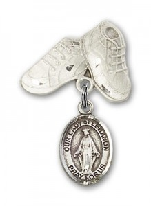 Baby Badge with Our Lady of Lebanon Charm and Baby Boots Pin [BLBP1490]