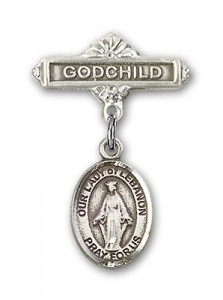 Baby Badge with Our Lady of Lebanon Charm and Godchild Badge Pin [BLBP1489]
