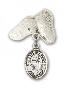 Baby Badge with Our Lady of Lourdes Charm and Baby Boots Pin [BLBP1888]