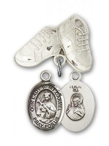Baby Badge with Our Lady of Mount Carmel Charm and Baby Boots Pin [BLBP1581]
