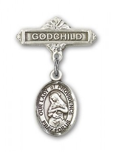 Baby Badge with Our Lady of Providence Charm and Godchild Badge Pin [BLBP0873]