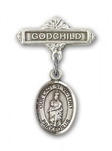 Baby Badge with Our Lady of Victory Charm and Godchild Badge Pin [BLBP2012]