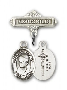 Baby Badge with Pope Benedict XVI Charm and Godchild Badge Pin [BLBP1524]