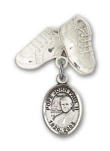 Baby Badge with Pope John Paul II Charm and Baby Boots Pin [BLBP1518]
