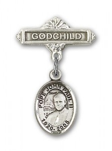 Baby Badge with Pope John Paul II Charm and Godchild Badge Pin [BLBP1517]