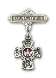 Baby Badge with Red 5-Way Charm and Godchild Badge Pin [BLBP0137]