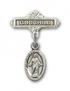 Baby Badge with Scapular Charm and Godchild Badge Pin [BLBP0170]