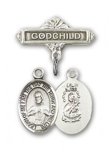 Baby Badge with Scapular Charm and Godchild Badge Pin [BLBP0950]