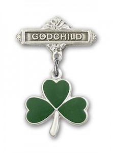 Baby Badge with Shamrock Charm and Godchild Badge Pin [BLBP0207]