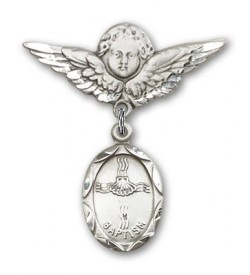 Baby Pin with Baptism Charm and Angel with Larger Wings Badge Pin [BLBP0046]