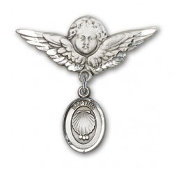 Baby Pin with Baptism Charm and Angel with Larger Wings Badge Pin [BLBP0088]