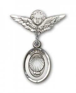 Baby Pin with Baptism Charm and Angel with Smaller Wings Badge Pin [BLBP0089]
