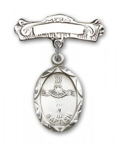 Baby Pin with Baptism Charm and Arched Polished Engravable Badge Pin [BLBP0045]