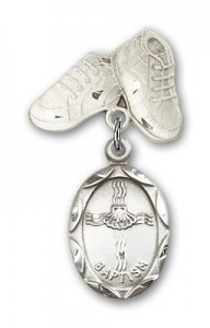 Baby Pin with Baptism Charm and Baby Boots Pin [BLBP0049]