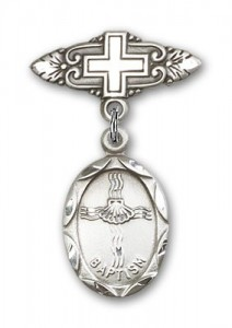Baby Pin with Baptism Charm and Badge Pin with Cross [BLBP0044]