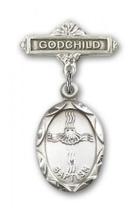 Baby Pin with Baptism Charm and Godchild Badge Pin [BLBP0048]
