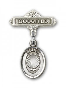 Baby Pin with Baptism Charm and Godchild Badge Pin [BLBP0090]