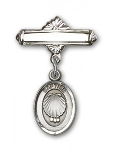 Baby Pin with Baptism Charm and Polished Engravable Badge Pin [BLBP0085]